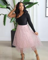 Sexy One Shoulder Top+Polka Dot Mesh Skirt 2 Piece Sets OMY-0010