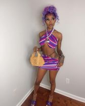 Colorful Striped Halter Crop Top Mini Skirt 2 Piece Sets WSM-5226