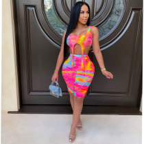 Sexy Printed Sleeveless Two Piece Shorts Set RM-6319