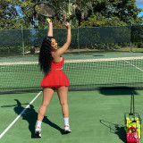Solid Sports Tank Top Mini Skirt Two Piece Suits MEI-9158