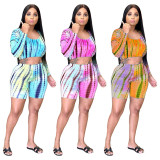 Casual Gradient Print Long Sleeve Shorts Two Piece Sets YIY-5266