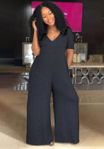 Casual Loose Short Sleeve Hooded Jumpsuits OLYF-6038