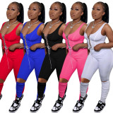 Solid Lace Up Tank Top Stacked Pants 2 Piece Sets OY-6260