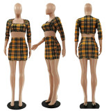 Fashion Plaid Print Crop Top And Short Skirt Two Piece Sets LSF-9072