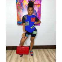 Fashion Paisley Print T-shirt Shorts Two Piece Sets IV-8179