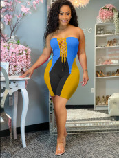 Fashion Splice Tube Top Tie Up Rompers HM-6888