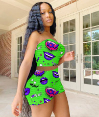 Lip Print Tube Top And Shorts Two Piece Sets MYF-200