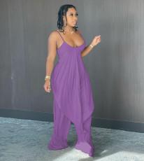 Plus Size Backless Slip Top Wide Leg Pants 2 Piece Sets CQ-098