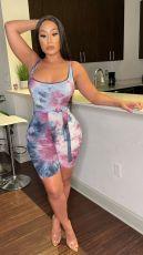 Tie Dye Print Sleeveless Sashes Rompers APLF-5026