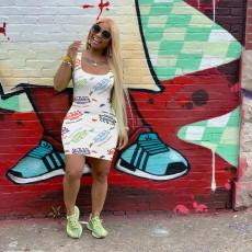 Letter Print Sleeveless Mini Dress FSL-132