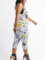 Plus Size Fashion Casual Printed Tank Top Jumpsuit CQ-102