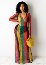 Colorful Striped Gird Hollow Out Long Club Dress TE-4224