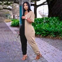 Plus Size Color Block Fashion Trend Casual Jumpsuit WUM-2314