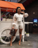 Fashion Casual Spring And Summer Mesh Sleeve  Two Piece Sets BS-1258
