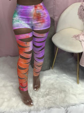 Tie Dye Print Hollow Out Skinny Pants LQ-012