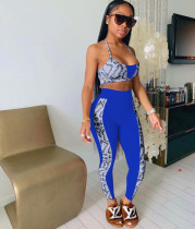 Casual Print Sling Hanging Neck And Pants Two Piece Sets OYF-8246