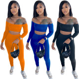 Solid Slash Neck Long Sleeve Two Piece Pant Sets TR-1118