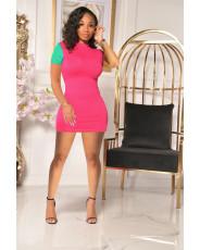 Patchwork Fashion Casual Mini Dress YD-8365