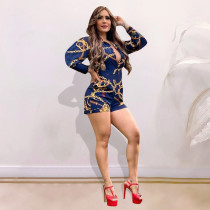 Chain Print Long Sleeve One Piece Rompers YMT-6201