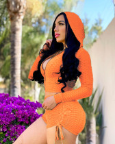 Solid Hooded Long Sleeve Two Piece Short Sets TR-1116