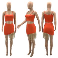 Sexy Camisole Tassel  Mini Skirt 2 Piece Set SZF-9075