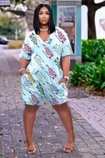 Plus Size Fashion Casual Loose Letter Print Rompers NYF-8045
