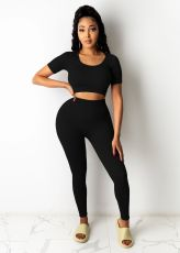 Solid Short Sleeve Crop Top And Pants 2 Piece Sets LDS-3260