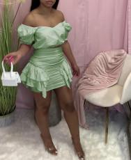 Sexy Short Sleeve Ruffled Mini Skirts 2 Piece Sets LQ-016