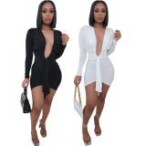 Sexy Deep V Neck Long Sleeve Irregular Mini Dress LQ-015