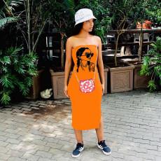 Summer New Sexy Tube Top Print Sleeveless Slit Midi Dress MAE-2081