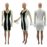 Sexy Mesh Patchwork Long Sleeve Mini Dress SZF-9097