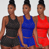 Solid Hole Tank Top Shorts Two Piece Suit RSN-797