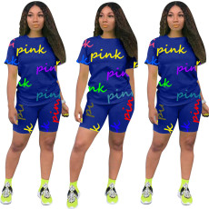 Casual Fashion PINK Letter Print Short Sleeve And Shorts  Two Piece Sets MYP-8962