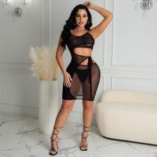Sexy Mesh Tie Up  Club Dresses MUL-S163