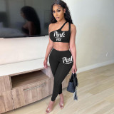 Pink Letter Print Sexy Two Piece Pants Set SZF-8013