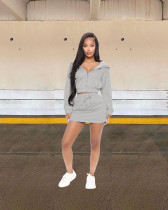 Solid Hooded Long Sleeve Mini Skirt 2 Piece Sets LDS-3257