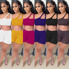 Solid One Shoulder Sexy Two Piece Shorts Set SZF-8011