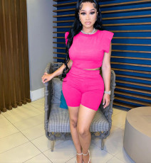 Fashion Summer New Solid Color Shoulder Pad Top And Shorts Two Piece Sets MAE-2080