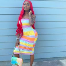 Breast Wrap Sexy Rainbow Midi Dress SMF-8080