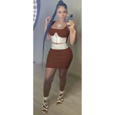 Sexy Patchwork Zipper Top Mini Skirt 2 Piece Sets MOF-6611