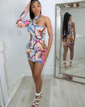 Nightclub Hollow Print Tight Sexy Mini Dress ATDF-5220