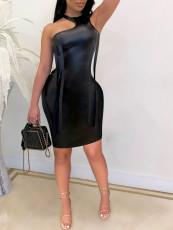 Sexy PU Leather Off Shoulder Irregular Club Dress RUF-8904
