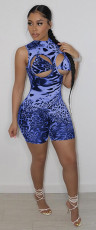 Sexy Printed Sleeveless Hollow Rompers MOF-6613