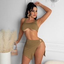 Fashion Sexy Solid Color Slit Mini Skirt Suit YUHF-8064