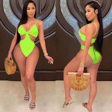 Sexy Solid Hollow Out One-Piece Swimsuit HMS-5445