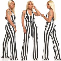 Deep V Halter Stripe Print Sexy Casual Jumpsuits With Belt SMD-5060
