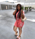 Plus Size Fashion Casual PINK Letter Print T-shirt Shorts Two Piece Sets YIM-172