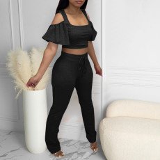 Sexy Ruffled Sleeve Crop Top And Pants 2 Piece Sets CQF-949