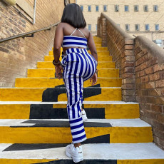 Sexy Striped Tie Up Crop Top And Pants 2 Piece Sets SZF-8002