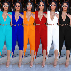 Solid Sleeveless V Neck Top And Pants 2 Piece Sets SZF-8015